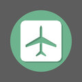 Plane, airplane flat icon. Round colorful button, circular vector sign with shadow effect. Flat style design.