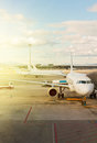 Plane at airport Royalty Free Stock Photo
