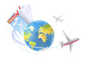 Plane around the globe vector illustration Royalty Free Stock Image