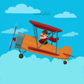 Plane cartoon airplane with funny pilot for your design color vector illustration Stock Photography
