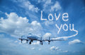 Plane with clouds font Royalty Free Stock Photo