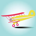 Plane colorful travel is landing from the blue sky Royalty Free Stock Images