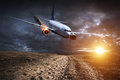 Plane with engine on fire about to crash Royalty Free Stock Photo