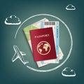 Plane flies around passport with ticket and map.