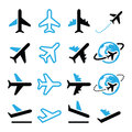 Plane flight airport black and blue icons set vector of flying isolated on white Royalty Free Stock Images