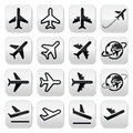 Plane flight airport icons set vector black of isolated on white Royalty Free Stock Photos