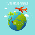 The plane is flying around the earth. Travel and Tourism. Flat d