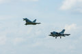 Plane flying of multirole fighter Eurofighter Typhoon and multirole aircraft Panavia Tornado. Royalty Free Stock Photo