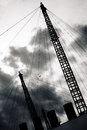 Plane flying over Millennium Dome Royalty Free Stock Photos