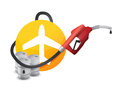 Plane with a gas pump nozzle illustration design over white background Royalty Free Stock Images