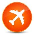 Plane icon elegant orange round button Royalty Free Stock Photo