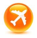 Plane icon glassy orange round button