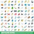 100 plane icons set, isometric 3d style