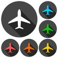 Plane icons set with long shadow