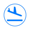 Plane landing circular line icon. Round colorful sign. Flat style vector symbol.