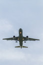 Plane landing photograph of a on the runway Royalty Free Stock Image