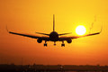 Plane landing in sunrise a is Royalty Free Stock Images