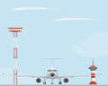 Plane, light tower  and control tower Royalty Free Stock Photo