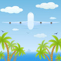 Plane over sea white fly and palms illustration Stock Photo