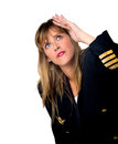 Plane pilot woman isolated on white Royalty Free Stock Image