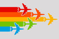 Plane rainbow Stock Photography