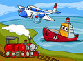 Plane ship train cartoon illustration Royalty Free Stock Photography