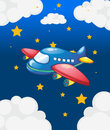A plane in the sky with many stars illustration of Stock Photos