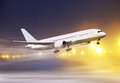 Plane in snowstorm Stock Photo