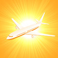 Plane on sun background flying airplane orange illustration Stock Photo