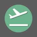 Plane takeoff flat icon. Round colorful button, circular vector sign with shadow effect. Flat style design.