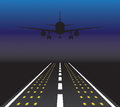 The plane is taking off at sunset vector illustration Royalty Free Stock Photo
