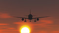 The plane is taking off at sunset vector illustration Stock Images