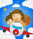 A plane with three kids illustration of Royalty Free Stock Images