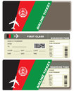 Plane ticket first class in Afghanistan Royalty Free Stock Photo