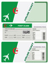 Plane ticket first class in Algeria Royalty Free Stock Photo