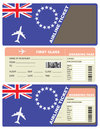 Plane ticket first class in Cook Islands Royalty Free Stock Photo