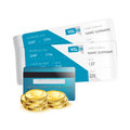 Plane tickets with credit card and coins isolated on white Royalty Free Stock Images
