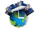 Plane travel around the world Royalty Free Stock Photo
