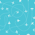 Plane travel seamless pattern. World travelling blue endless vector background with dashed path lines Royalty Free Stock Photo