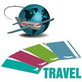 Plane and traveling tickets abstract colorful background with flying near the globe four flying colored in various ways Stock Image