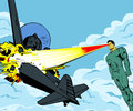 Plane vs hero comic book style illustration of vintage war exploding by a s heat vision Royalty Free Stock Images
