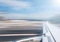 Plane wing at take off or landing. Royalty Free Stock Photo