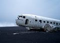 Plane wreck near vik iceland us navy in Royalty Free Stock Image