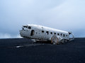 Plane wreck near vik iceland us navy in Royalty Free Stock Photos