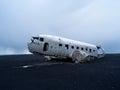 Plane wreck near vik iceland us navy in Royalty Free Stock Photos