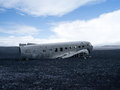 Plane wreck near vik iceland us navy in Royalty Free Stock Photography