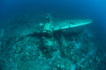 Plane wreck from wwii underwater a japanese jake seaplane shot down during lies on the seafloor of palau s lagoon palau in Royalty Free Stock Images