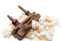 Planer with wooden chips, wood shavings Royalty Free Stock Photography