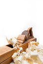 Planer with wooden chips, wood shavings Stock Image