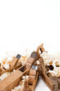 Planers with wooden chips, wood shavings Stock Photography
